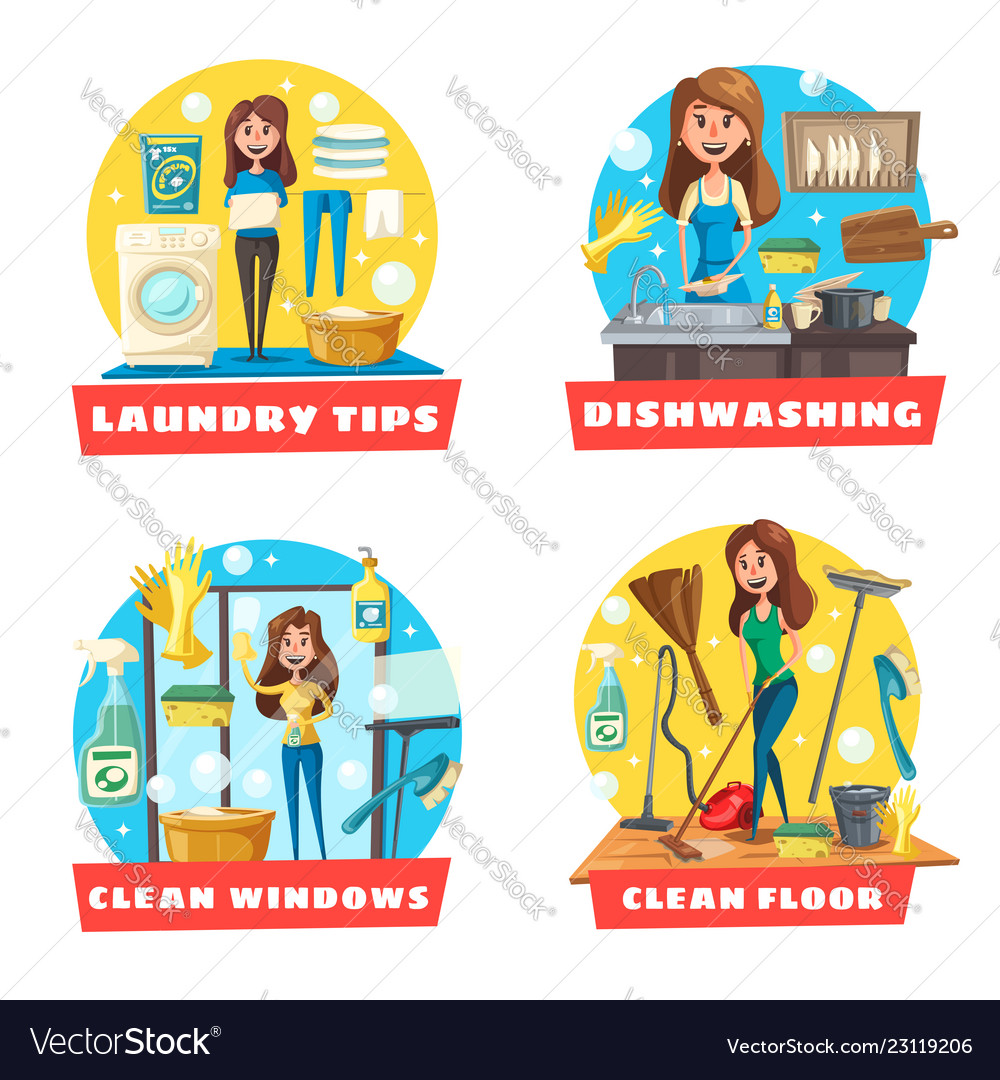 Window and floor cleaning laundry and dishwashing