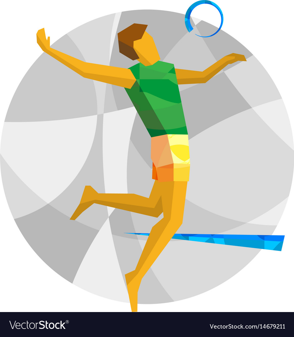 Beach volleyball player with abstract patterns
