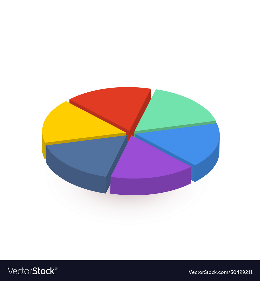 Bright colourful pie diagram divided in six pieces