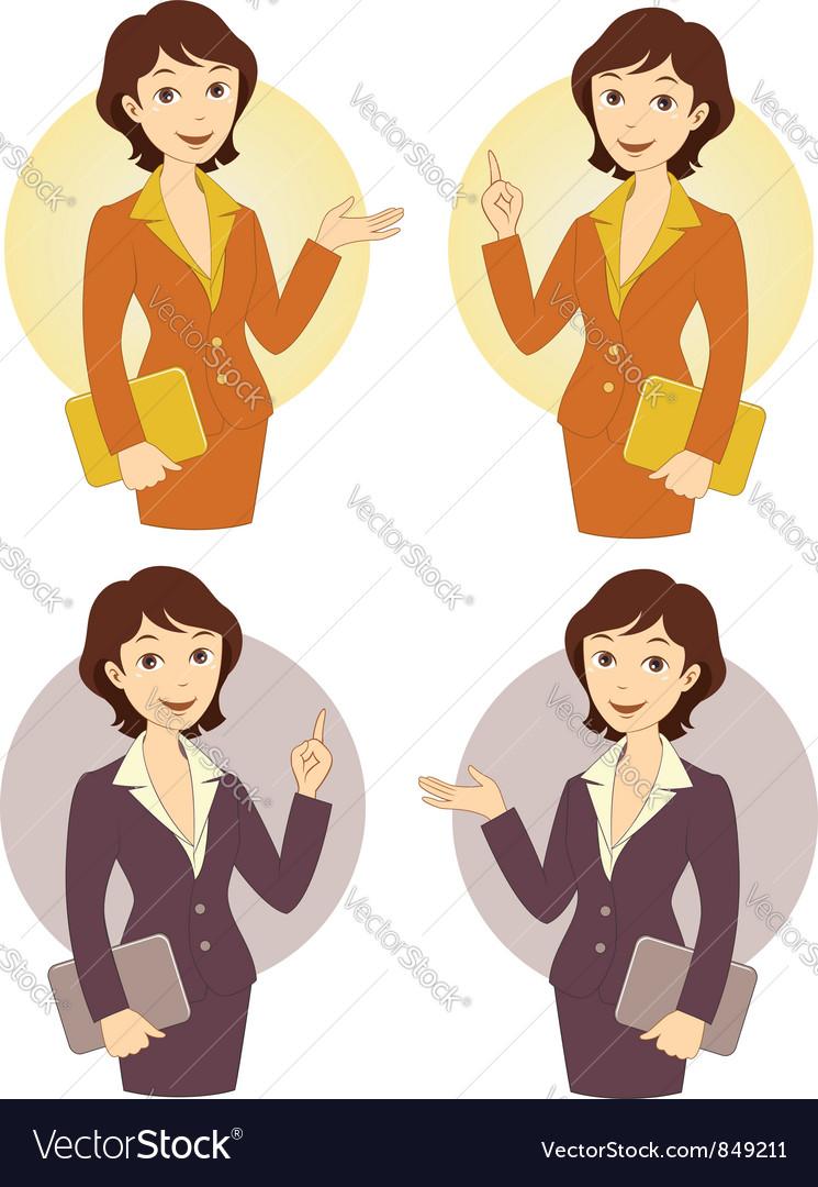 Cartoon Businesswoman Set vector image