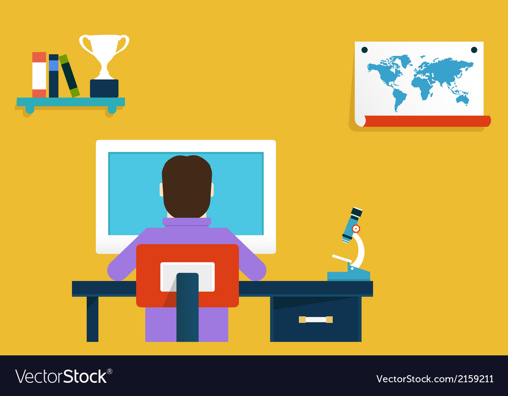 Flat Concept Of Online Learning Royalty Free Vector Image