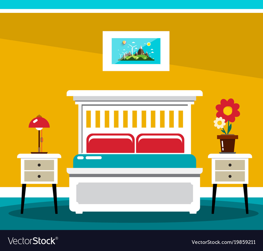 Hotel room bed flat design interior vector image