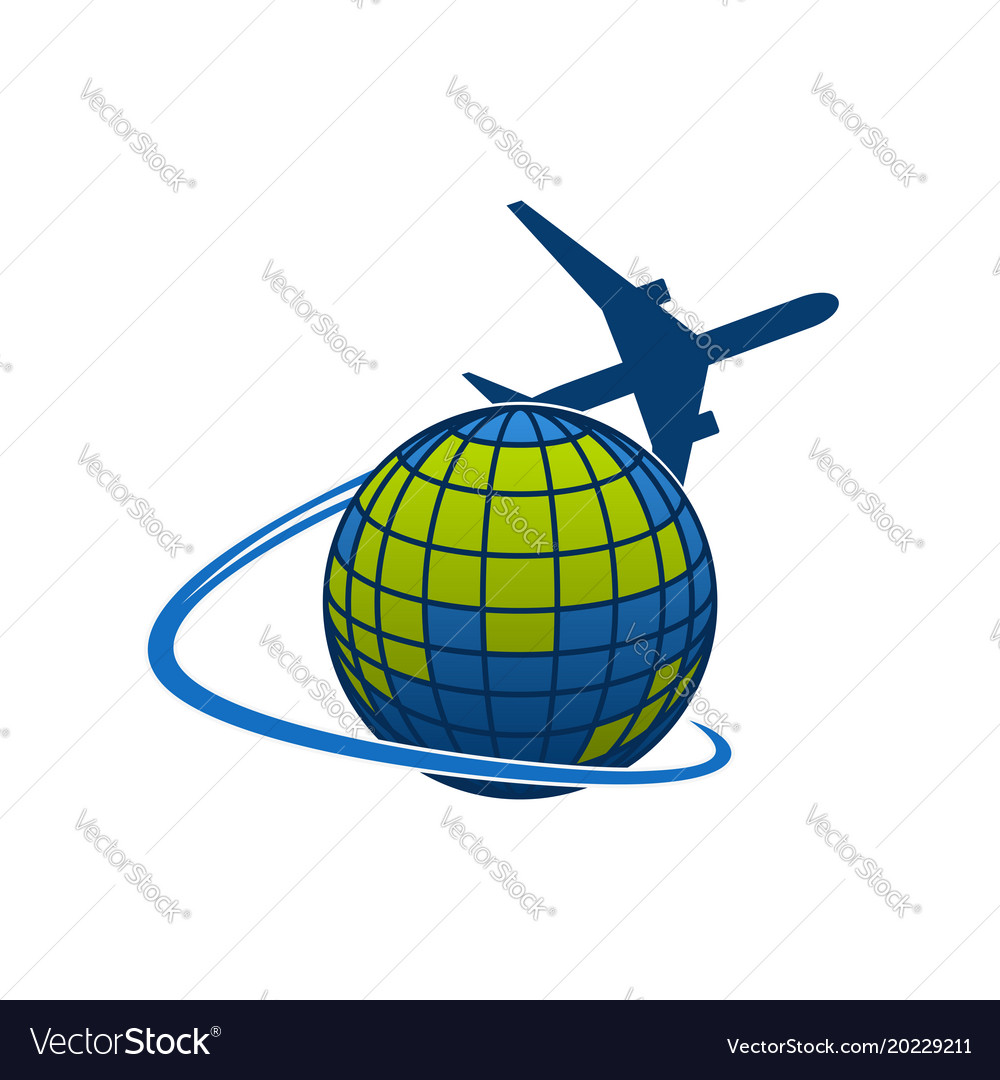 Icon of airplane jet over globe world