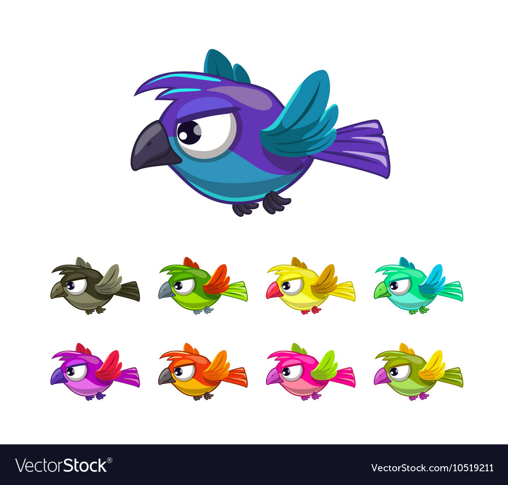 Little cartoon flying birds set
