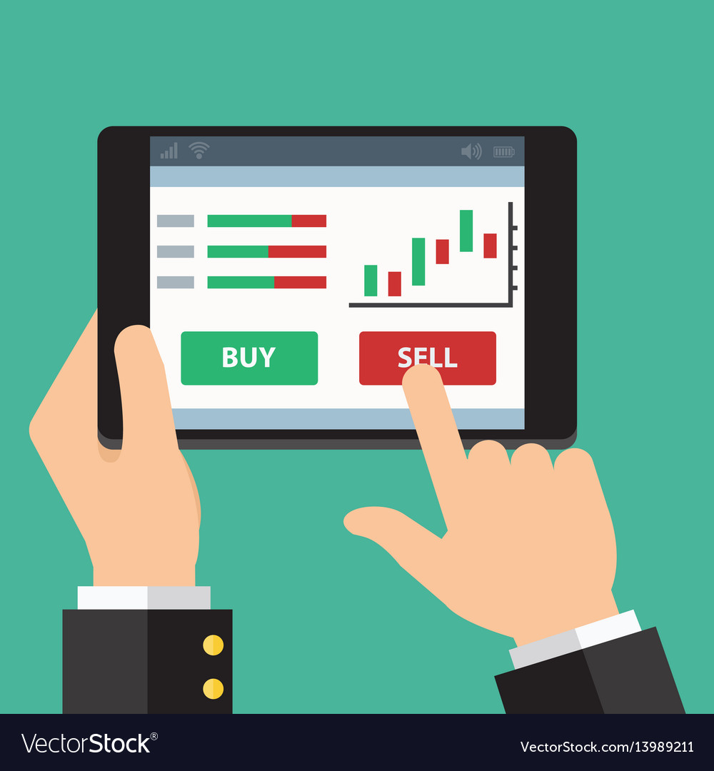 Mobile foreign exchange trading flat design vector image