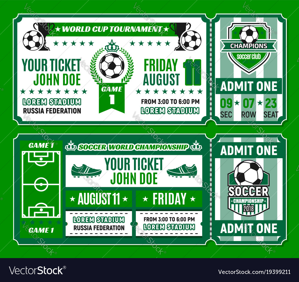 soccer ticket template of football cup tournament vector image