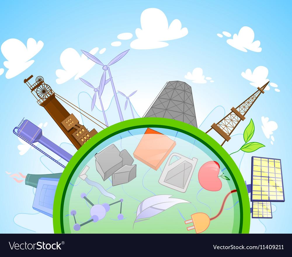 Type of renewable and not renewable energy vector image
