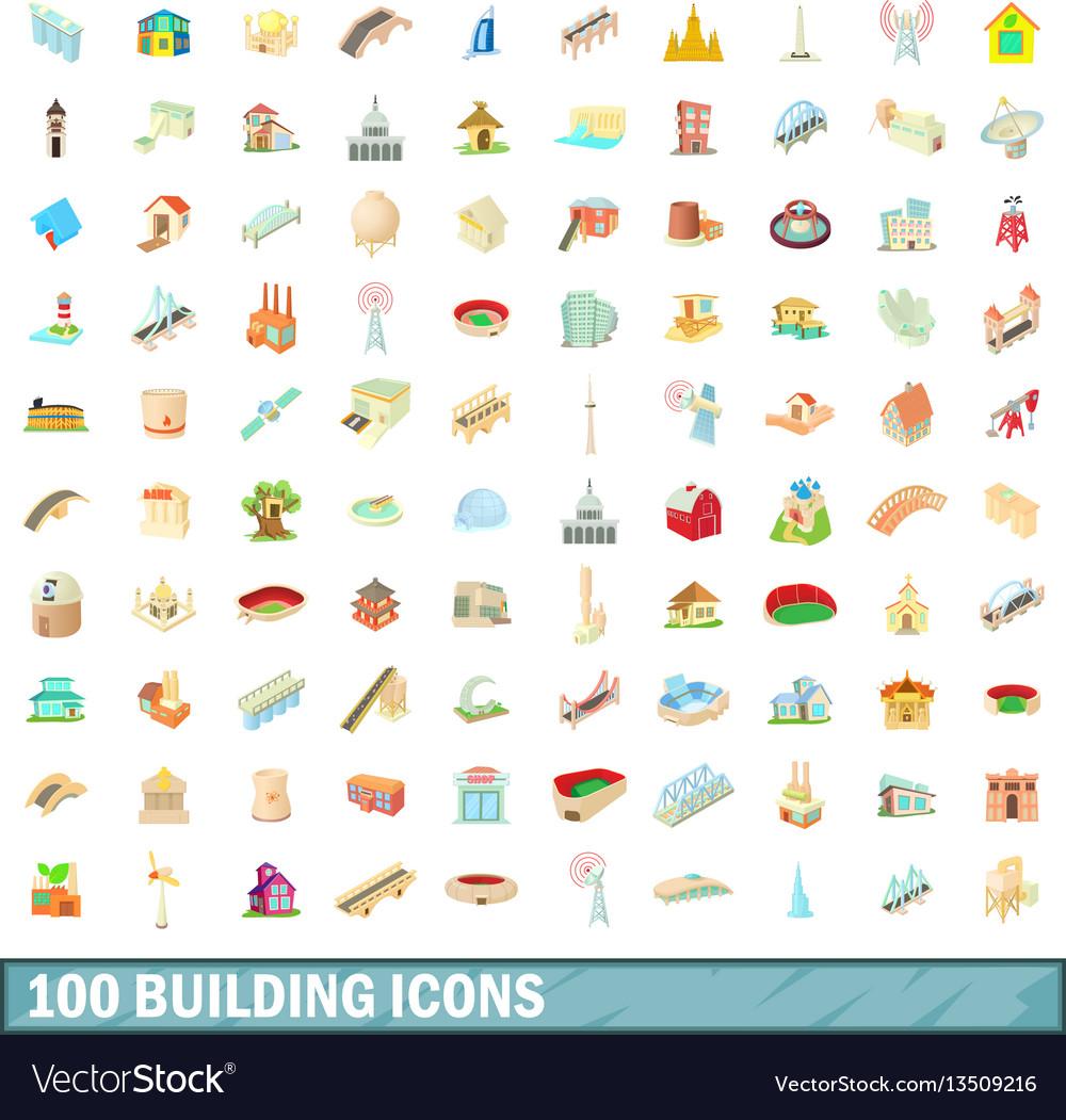 100 building icons set cartoon style