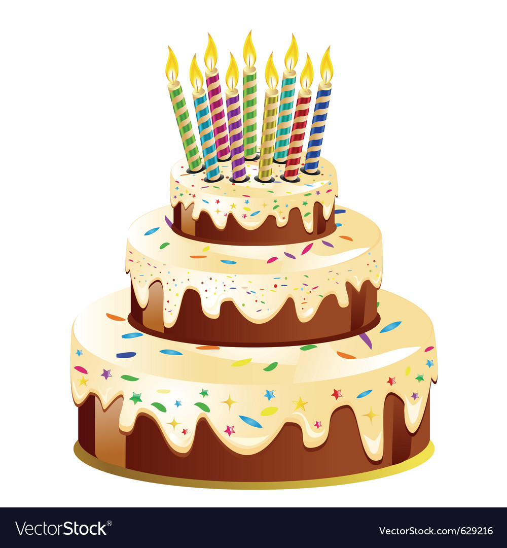 Birthday cake and candle Royalty Free Vector Image
