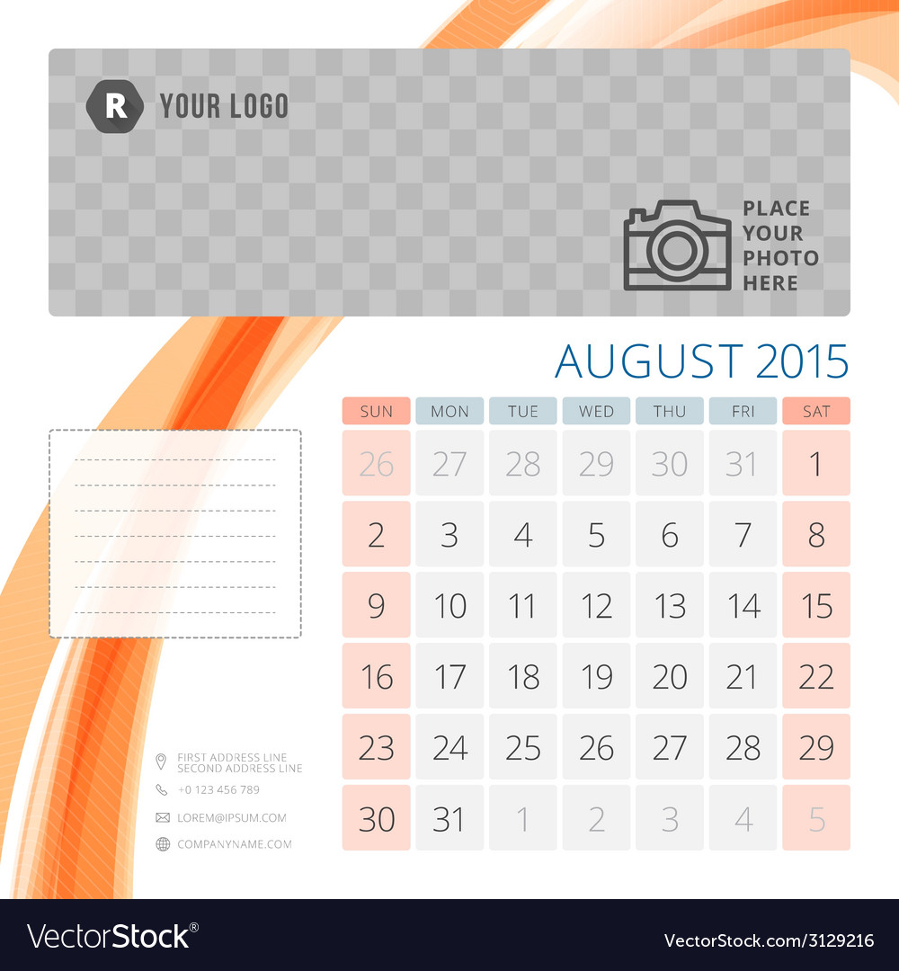 Calendar 2015 August template with place for photo