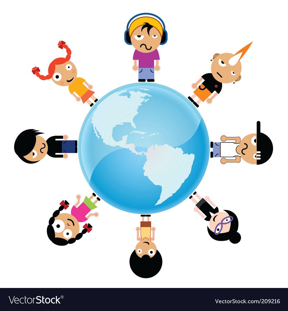 Cartoon kids around the world