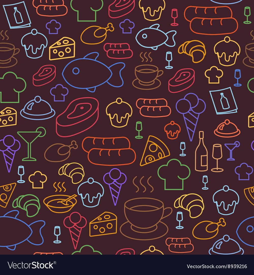Colored line icons of restaurant and fast food
