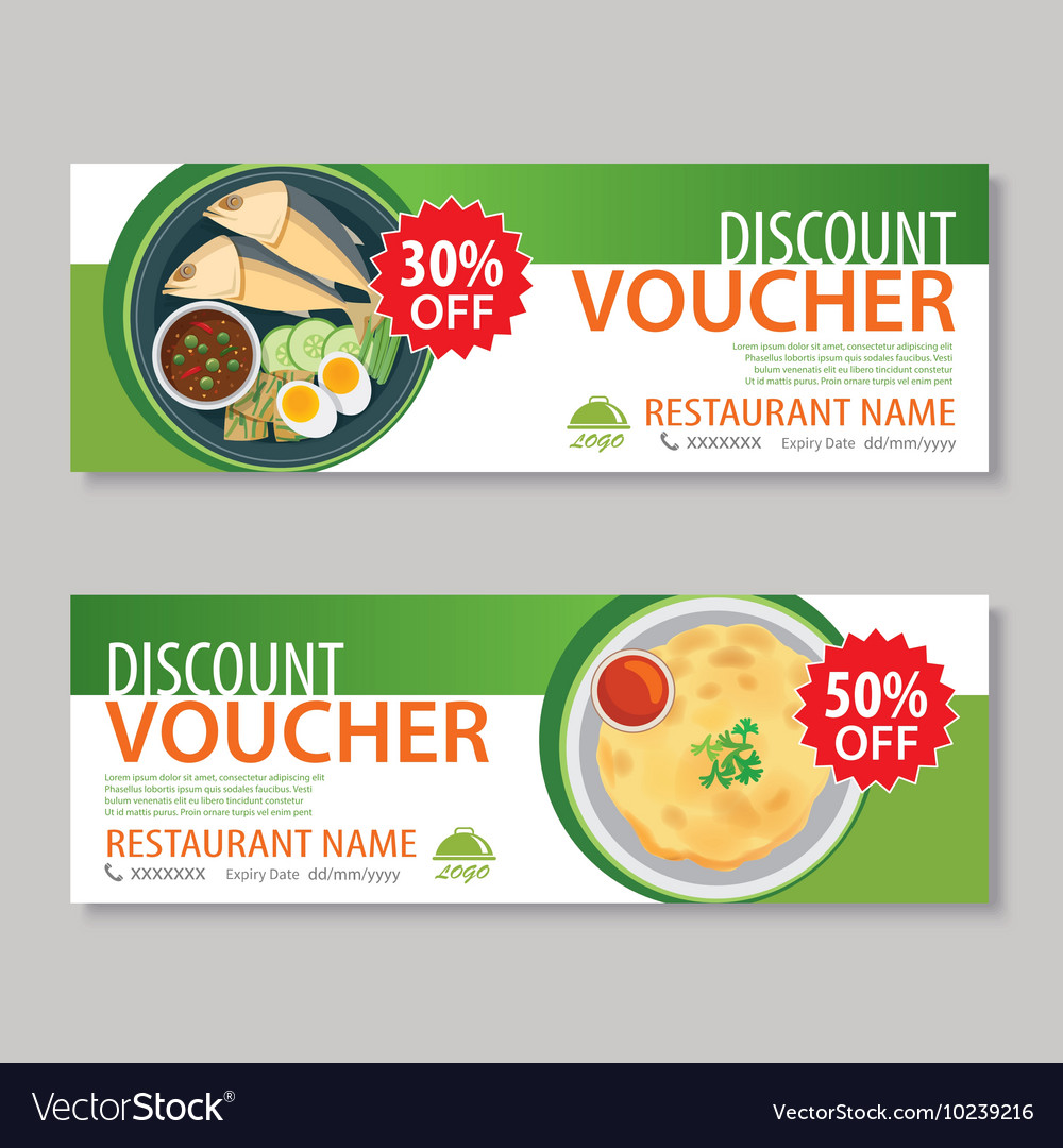 Discount voucher template with thai food vector image