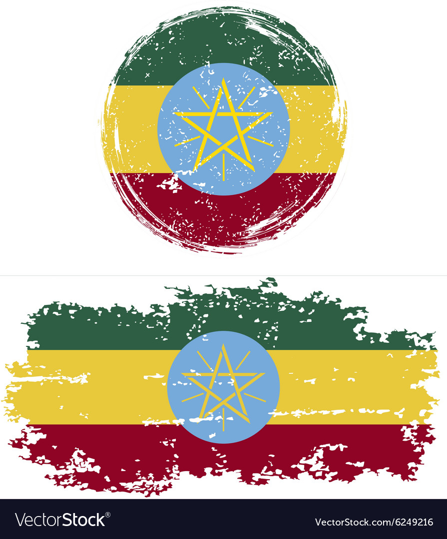 Ethiopian round and square grunge flags