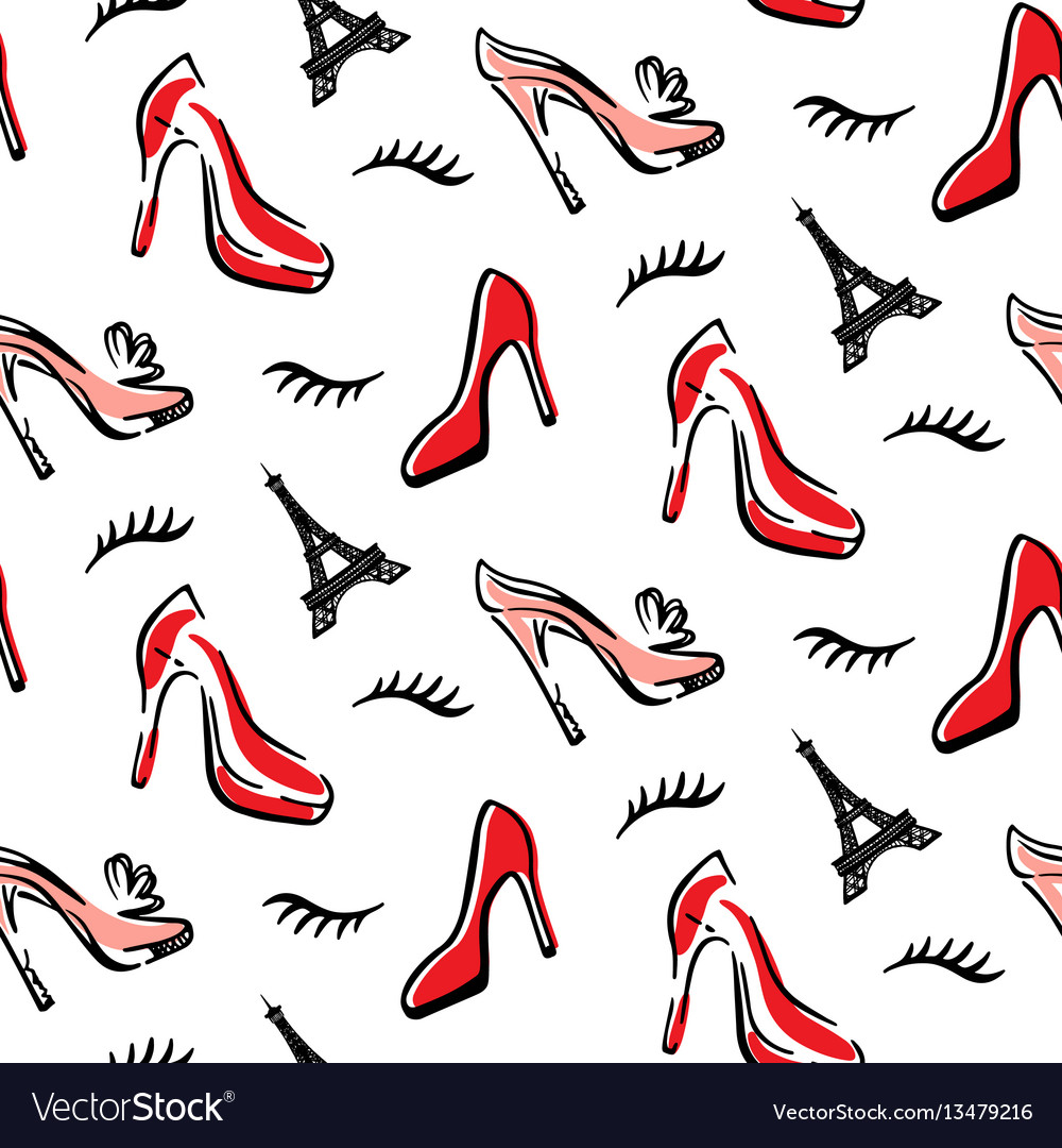 Fashion seamless pattern background with red shoes