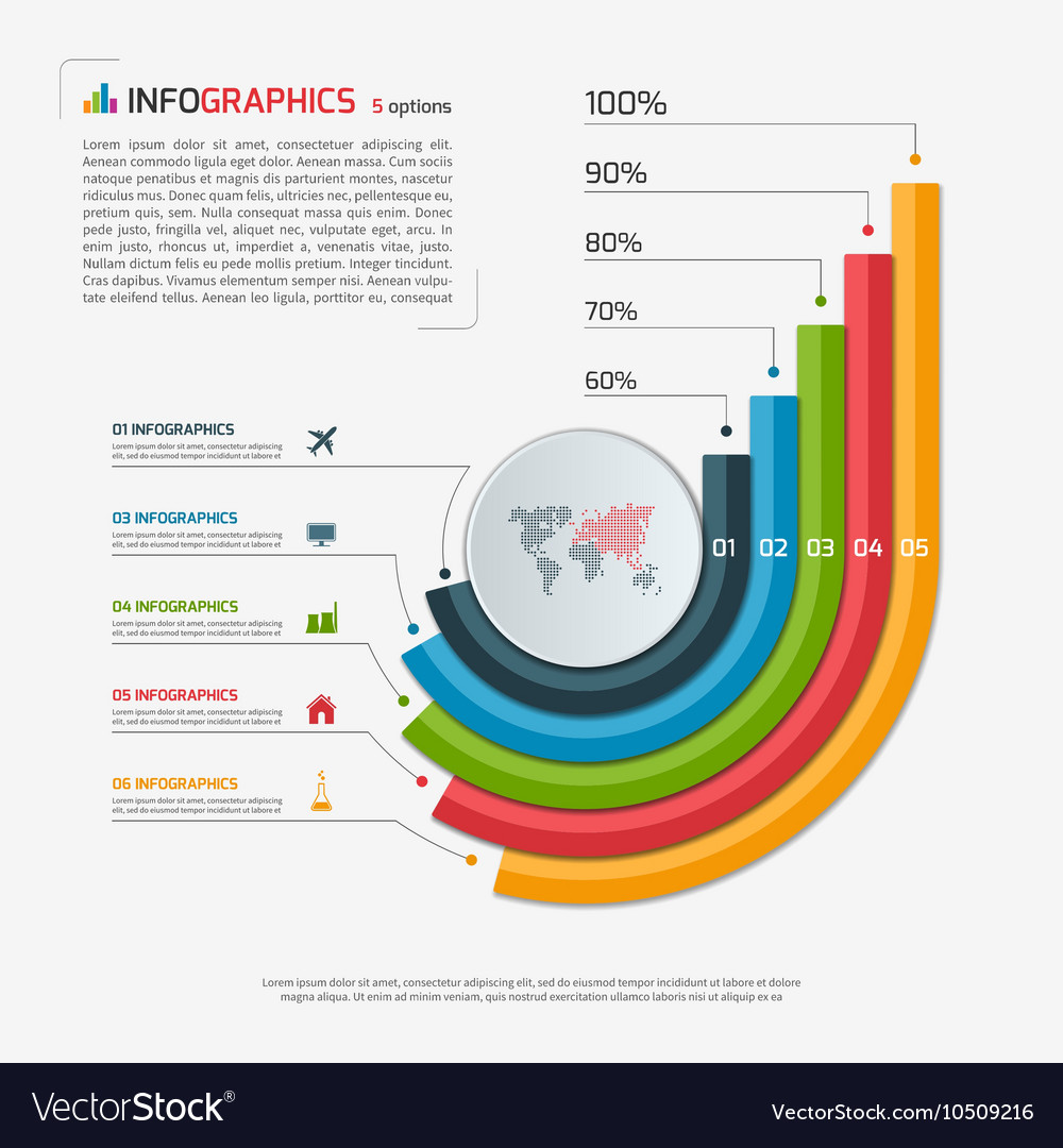 Bar Chart Template | Growing Bar Chart Template With 5 Options Vector Image