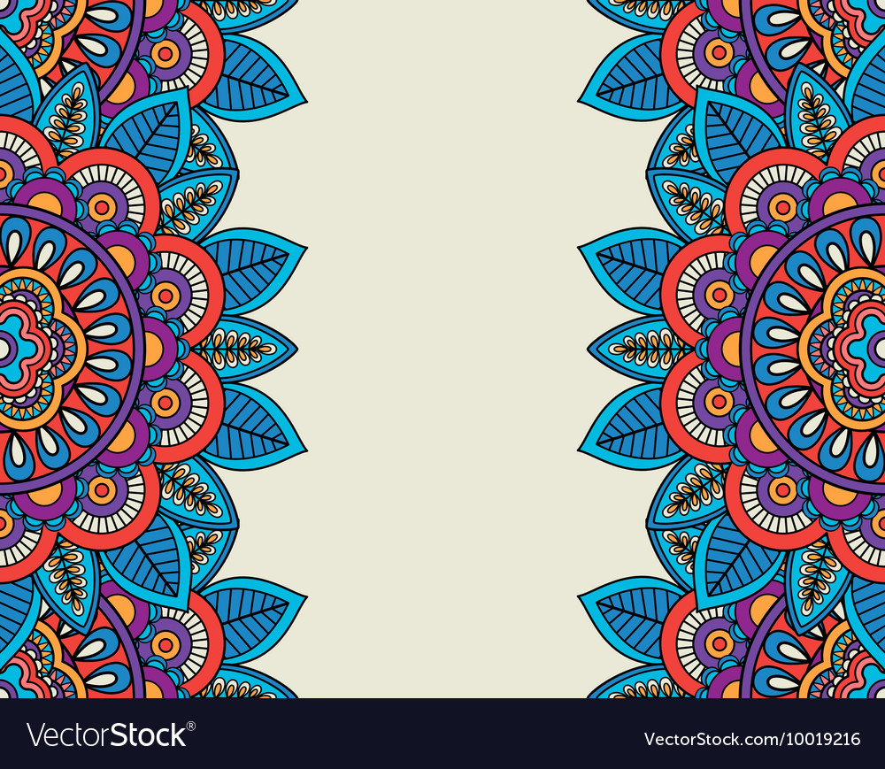 Indian doodle boho floral borders vector image