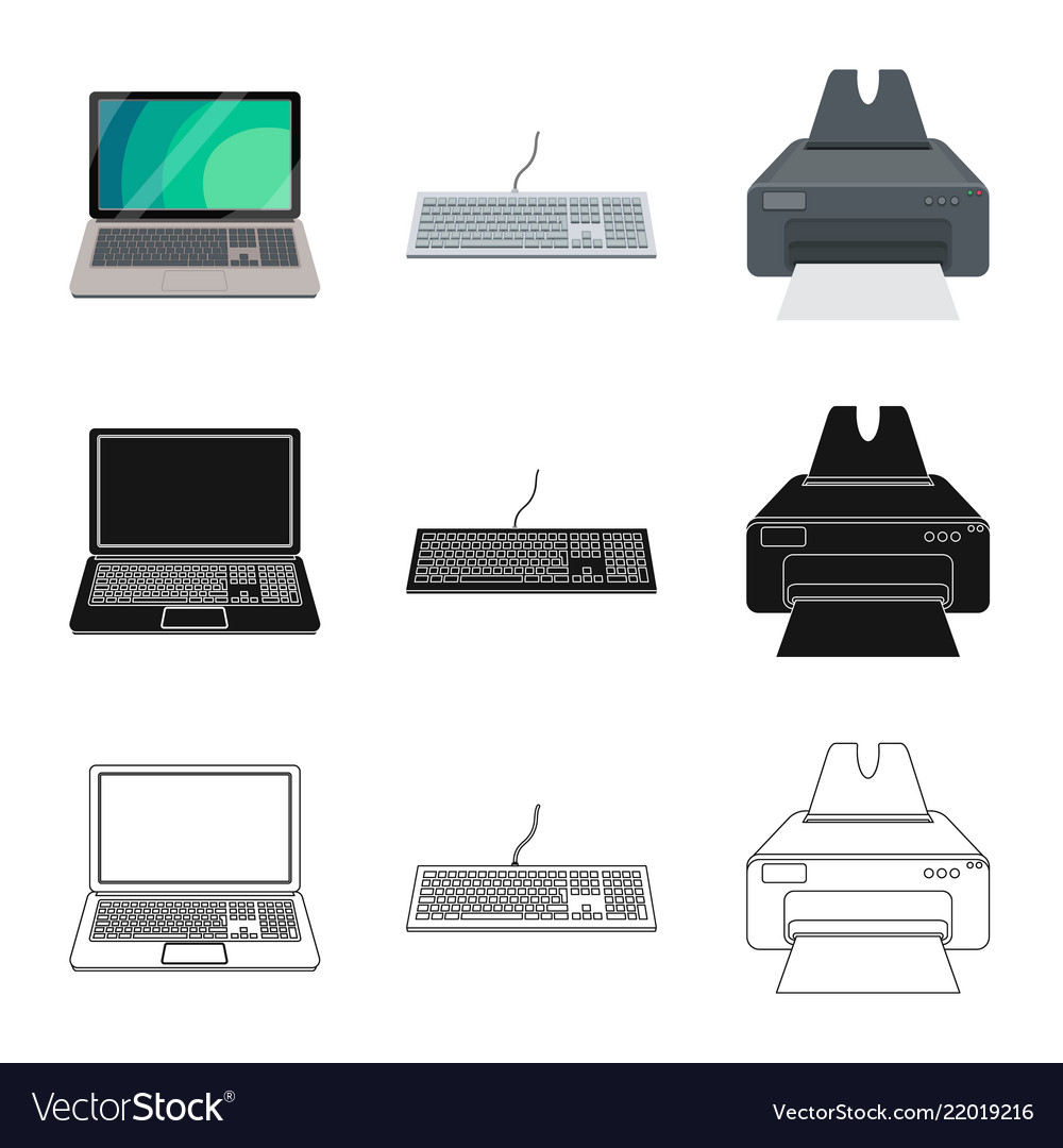 Isolated object of laptop and device symbol set