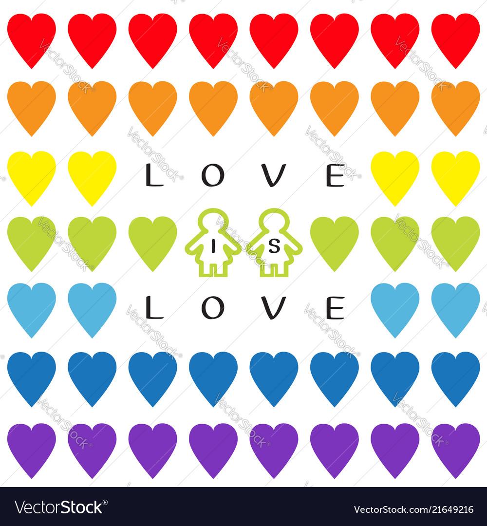 Love is love text rainbow heart set gay marriage