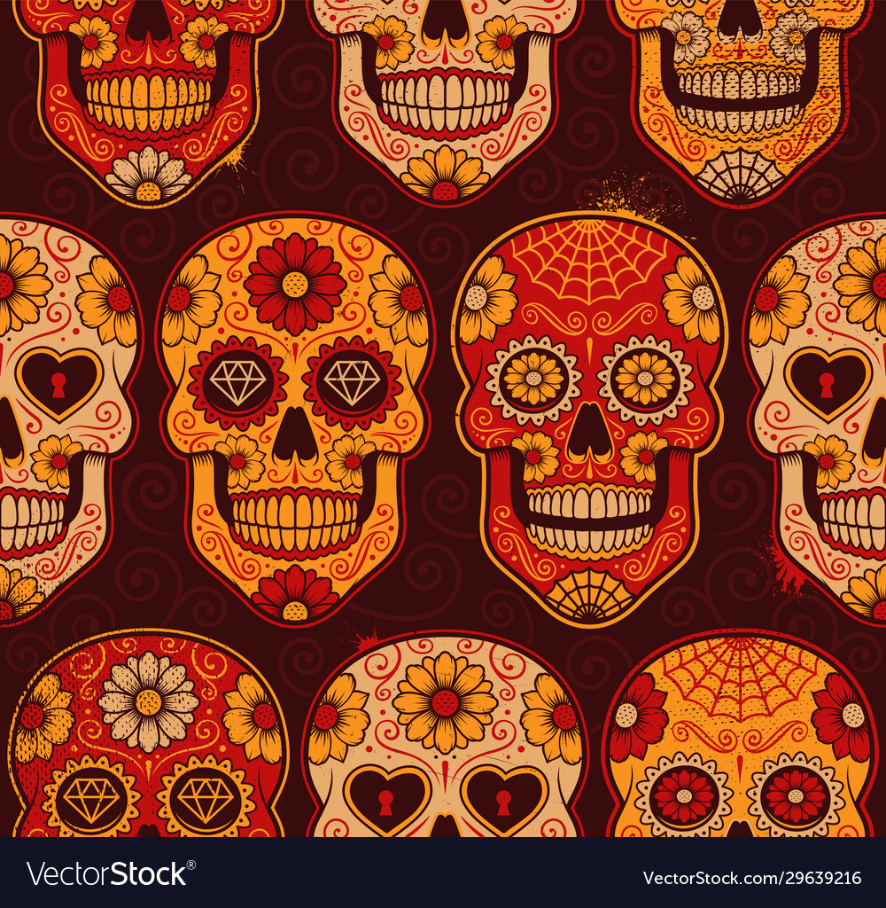 Mexican calavera skulls seamless pattern