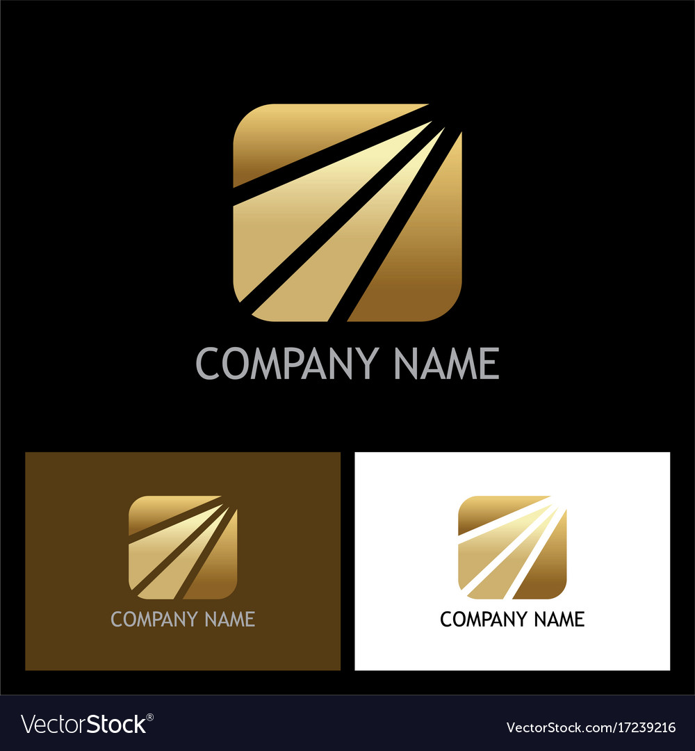 Square arrow gold business logo vector image