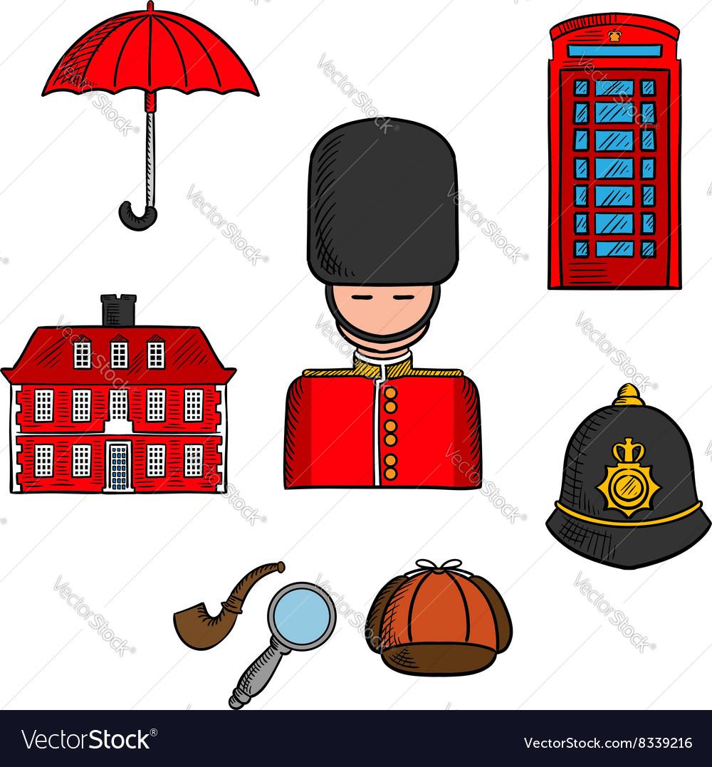 Travel landmarks of London colored sketch