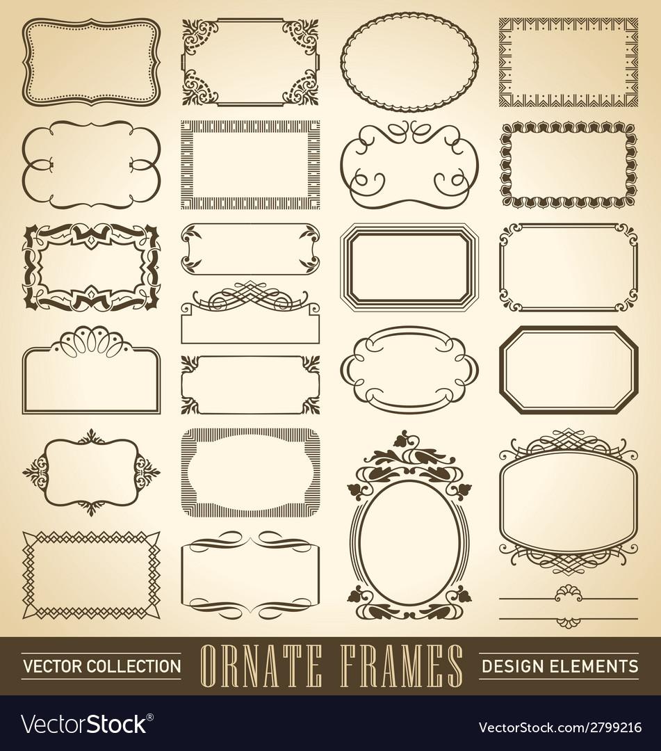 Vintage ornate borders set of 24 vector image