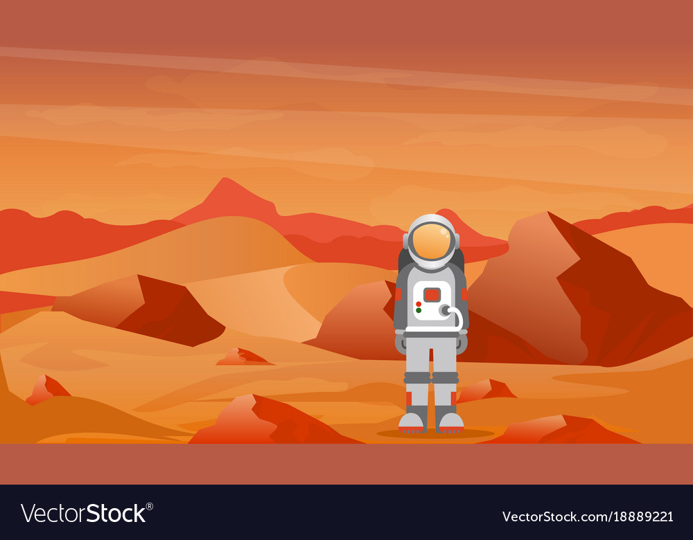 Astronaut in a spacesuit on mars or another planet