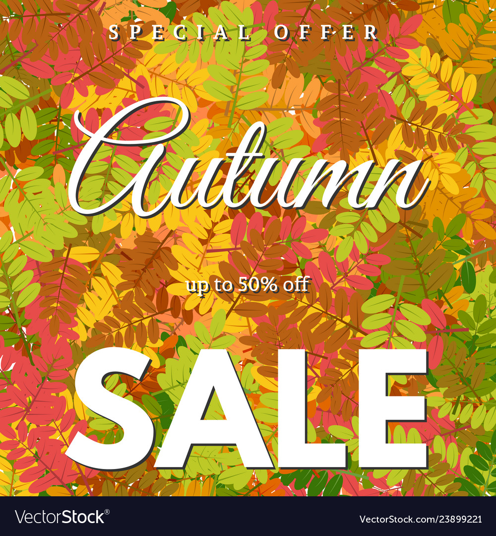 Autumn leaves and an inscription autumn sale