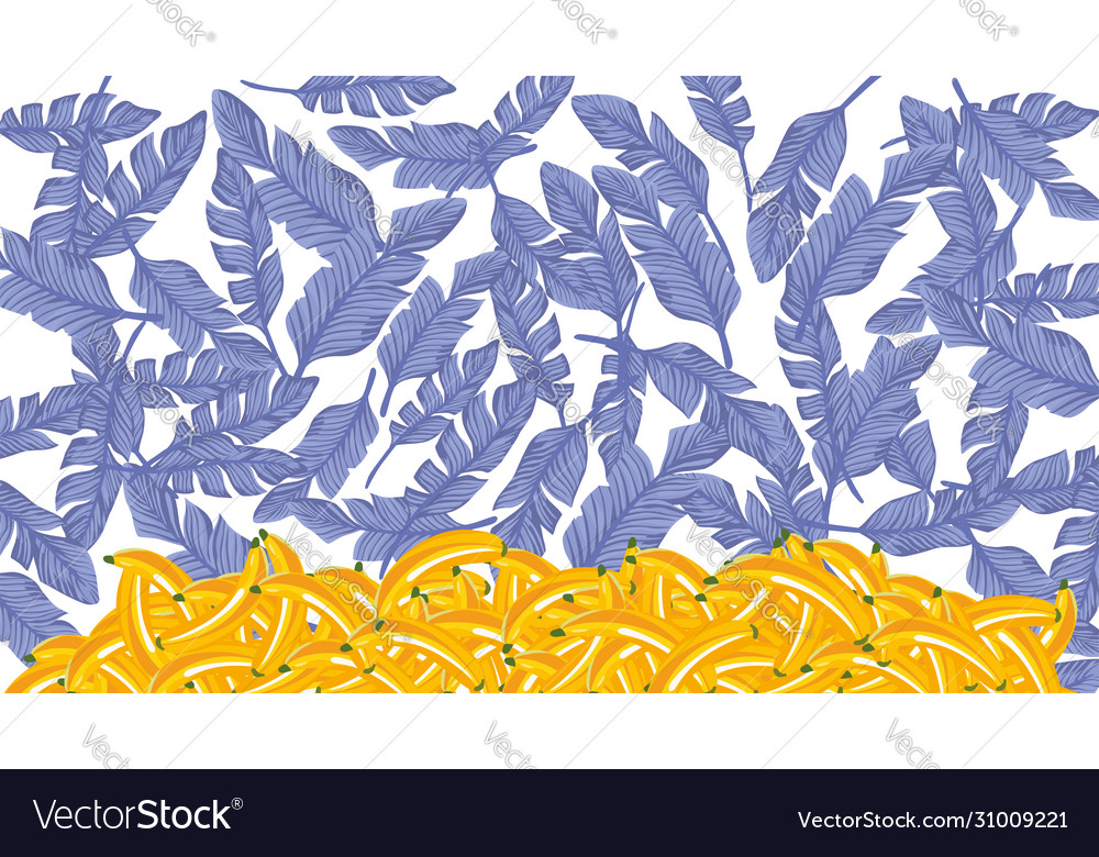 Blue palm leaves yellow banana white background