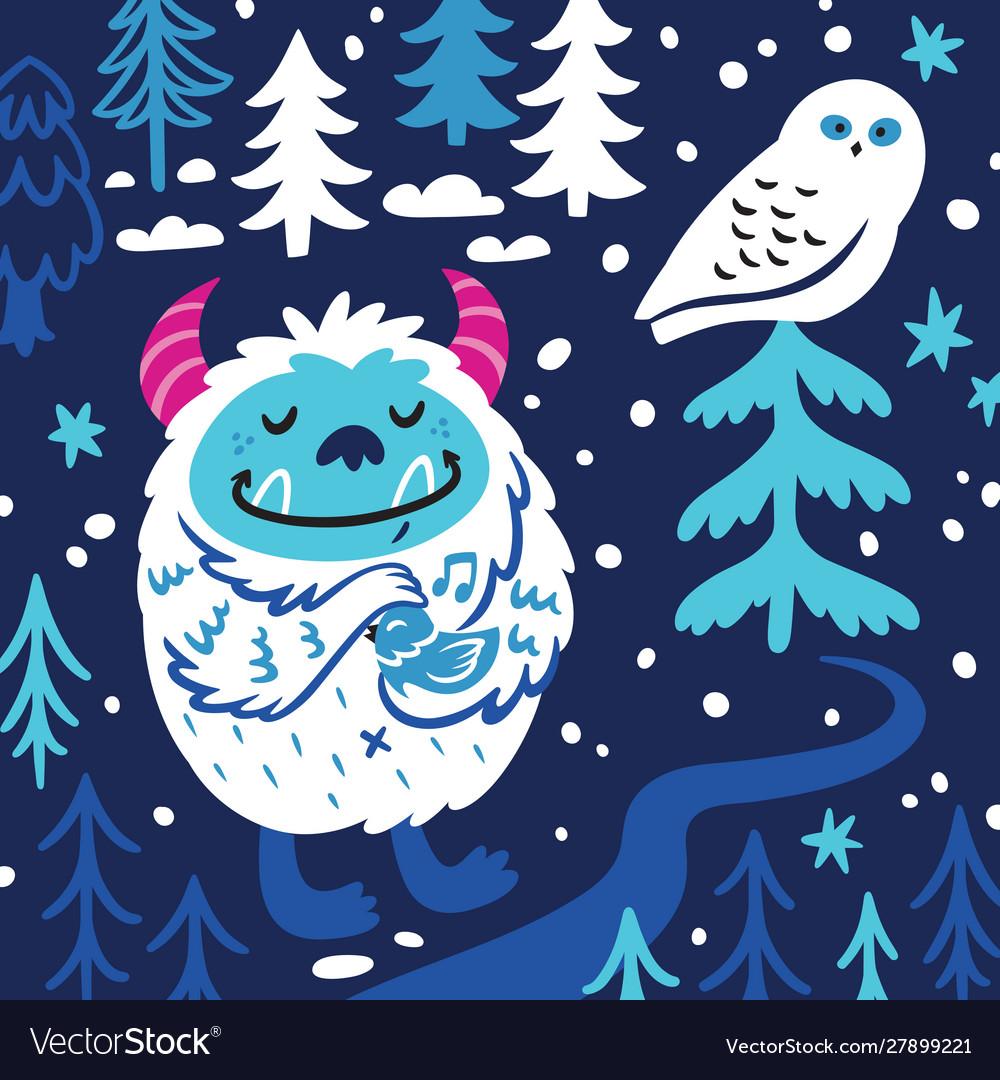 Cartoon bigfoot or yeti loves birds fantasy