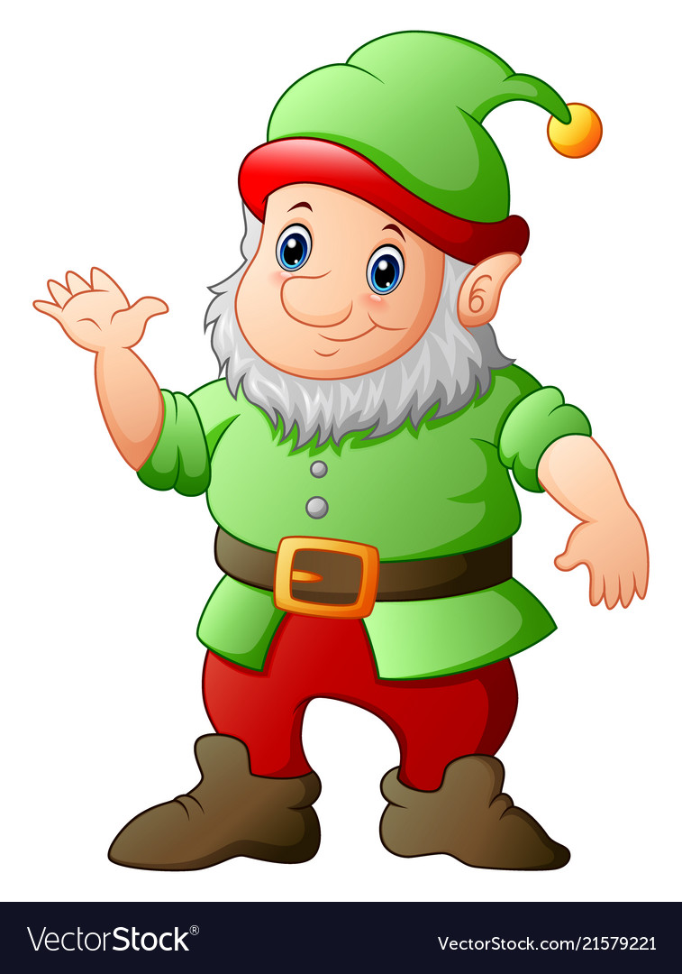 Cartoon garden gnome waving hand