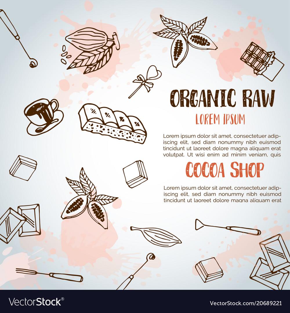 Chocolate cacao sketch background design menu for