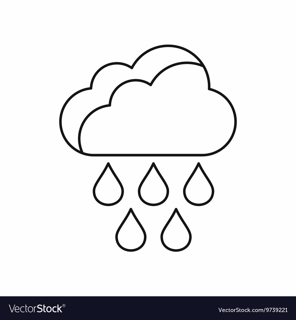 Cloud with rain drops icon outline style