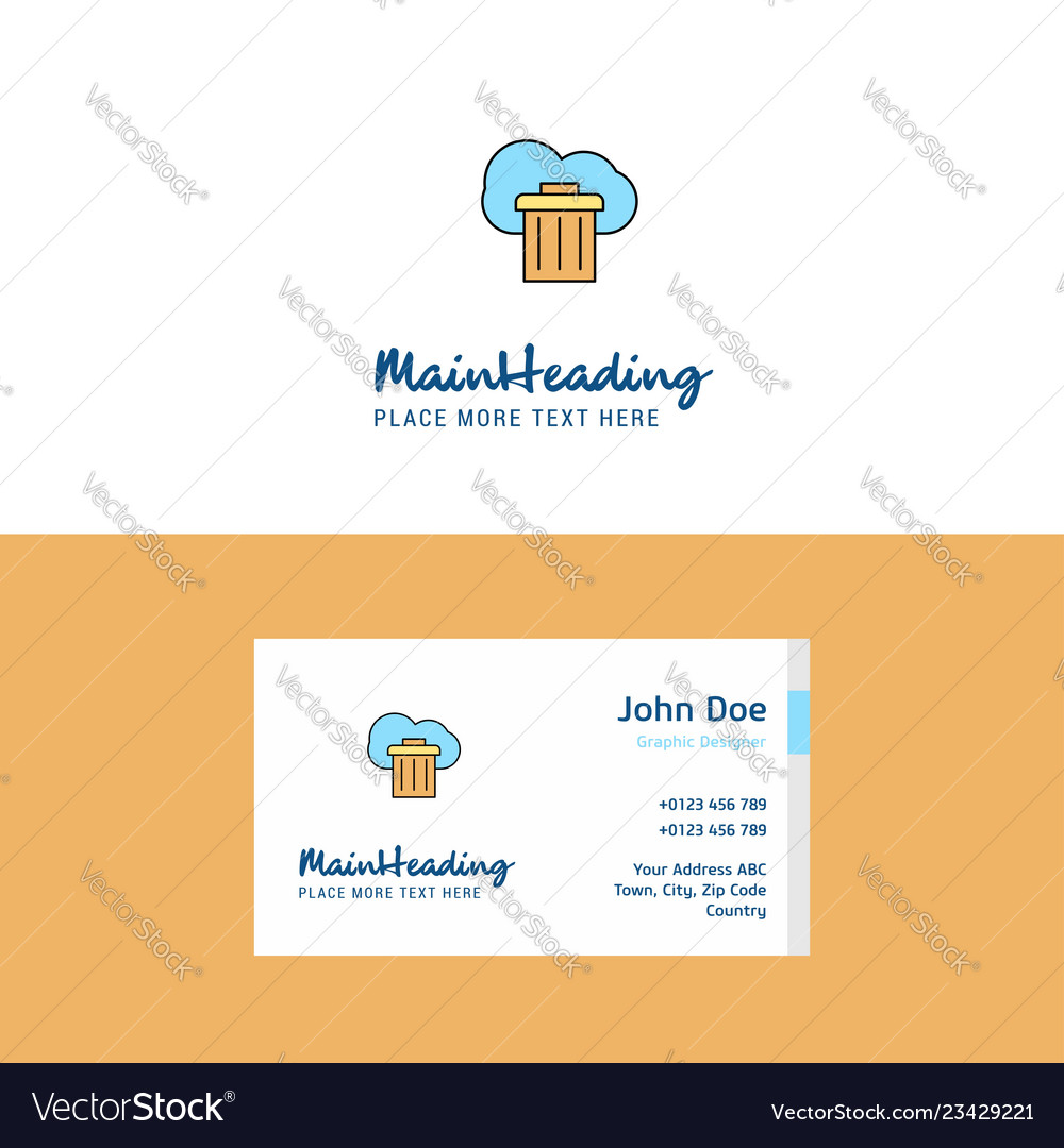 Flat cloud trash logo and visiting card template
