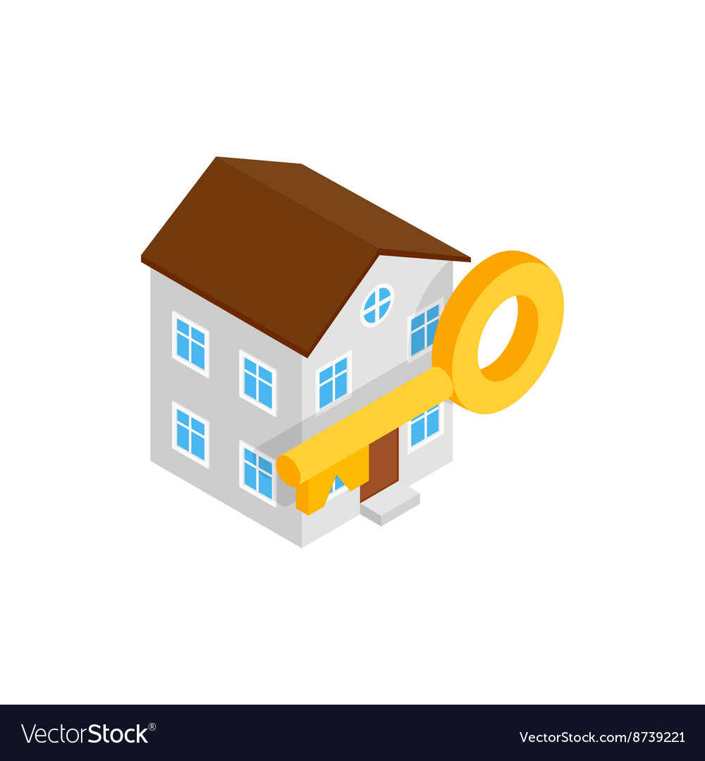 House and key icon isometric 3d style vector image