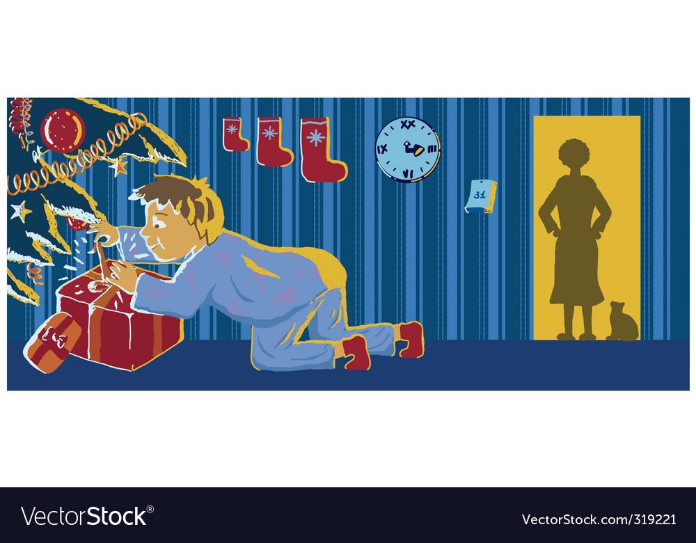 Naughty boy opening present vector image
