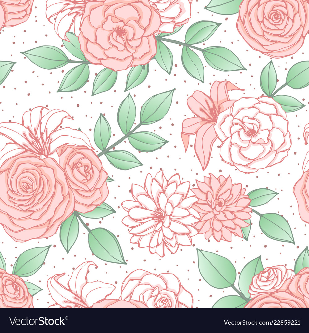 Pattern with pink lily peony and rose flowers
