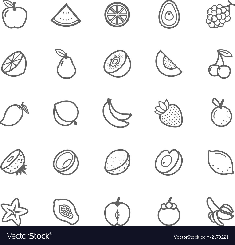 Set of Outline stroke Fruit icon