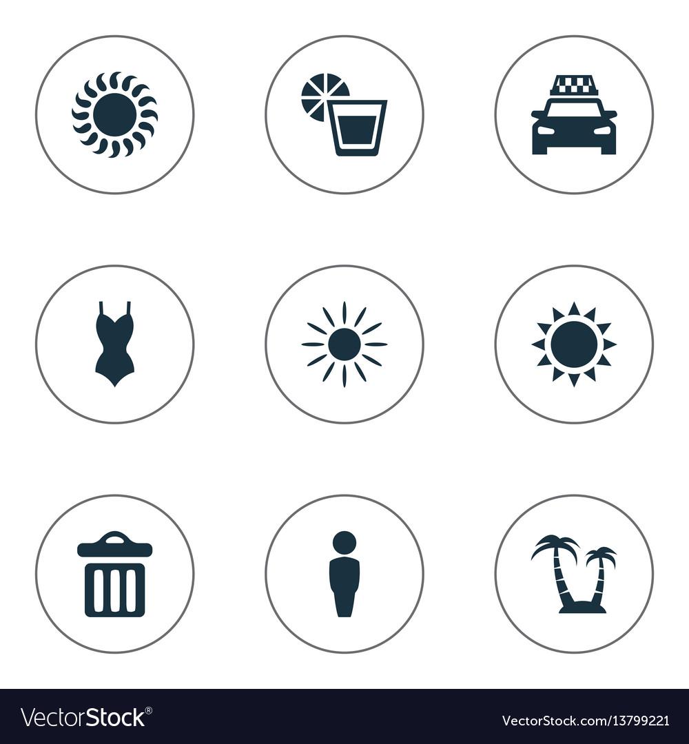 Set of simple seaside icons