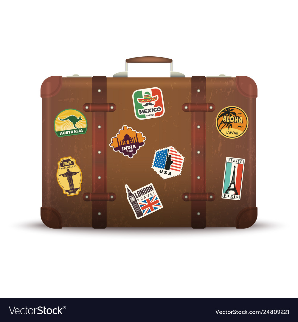 Suitcase stickers old retro luggage with travel