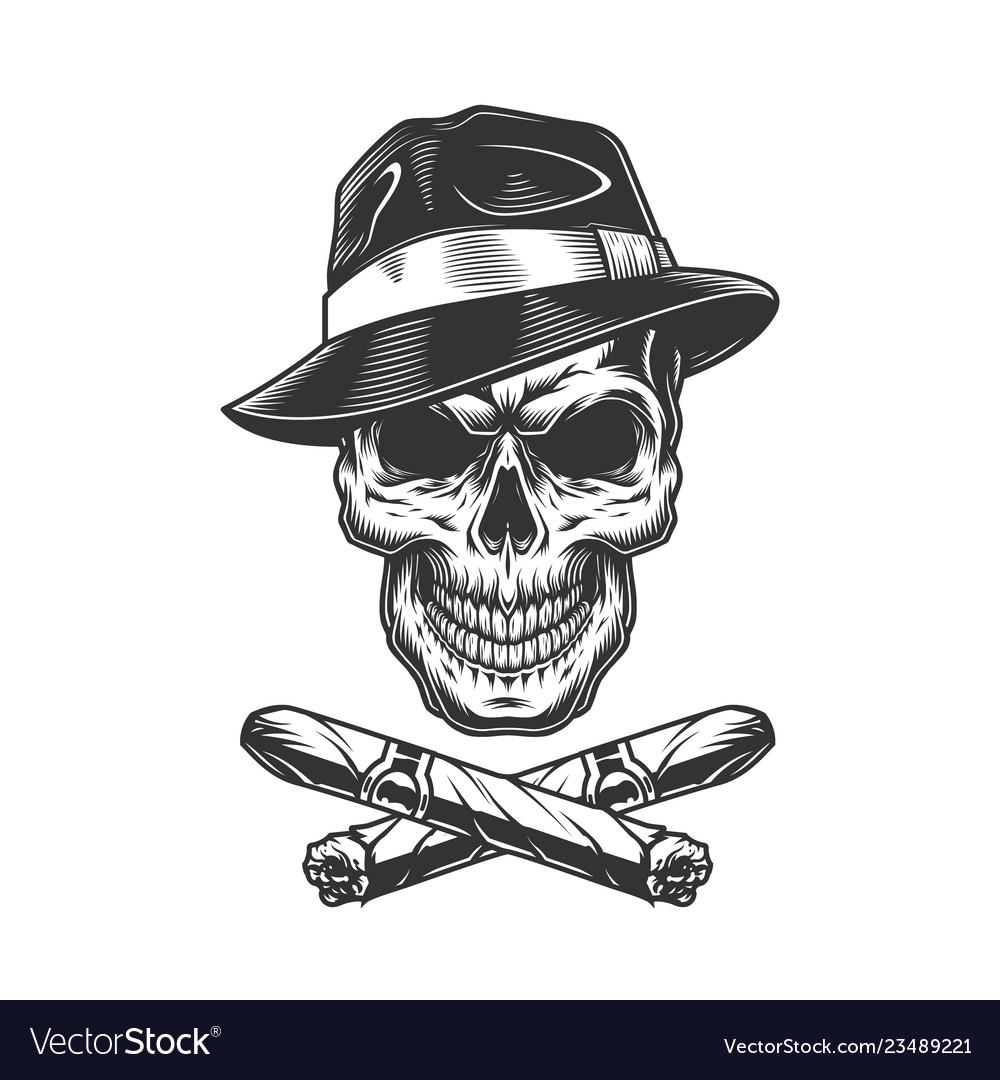 Vintage gangster skull in fedora hat