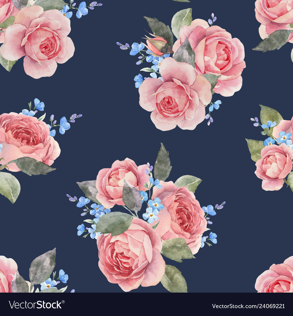 Watercolor rose floral pattern
