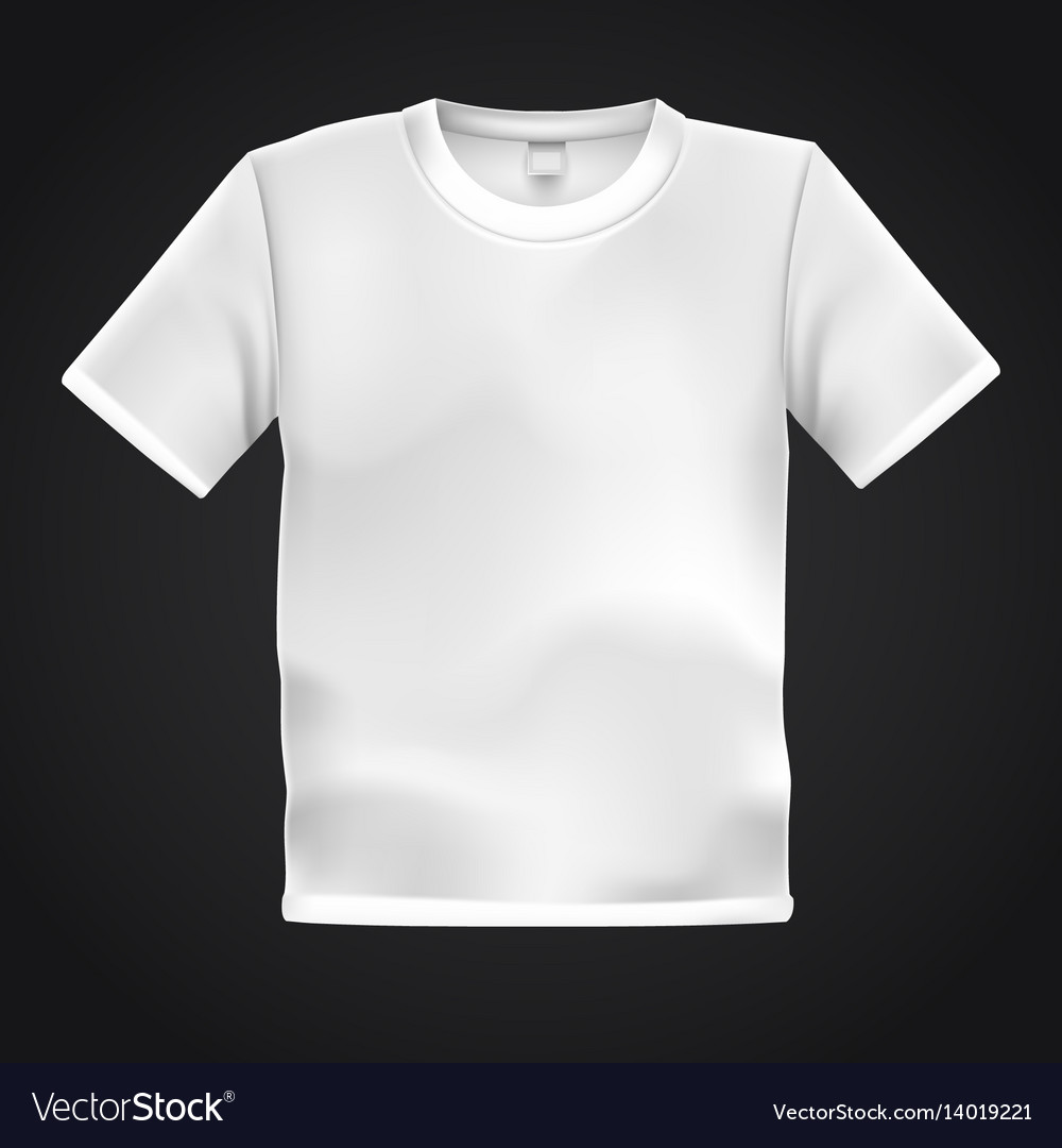 White T Shirt Template Isolated On Black Vector Image