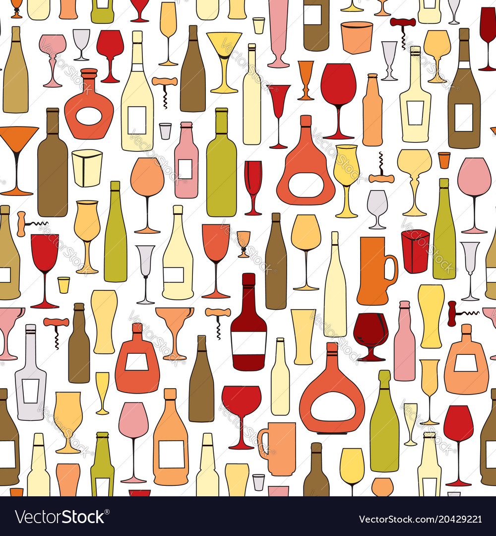 Wine bottle and wine glass seamless pattern drink
