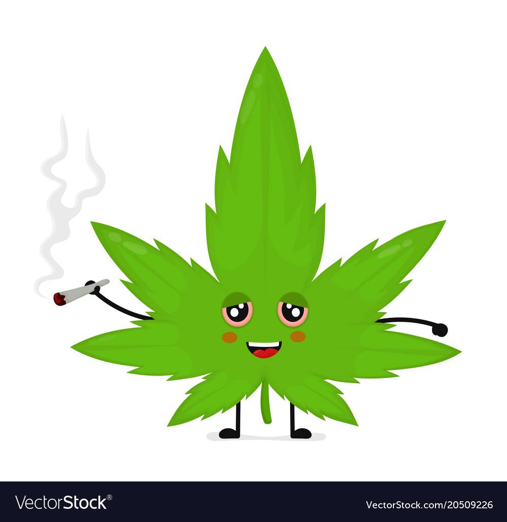 brand new 57b03 4c057 Cute funny smiling happy marijuana weed vector image