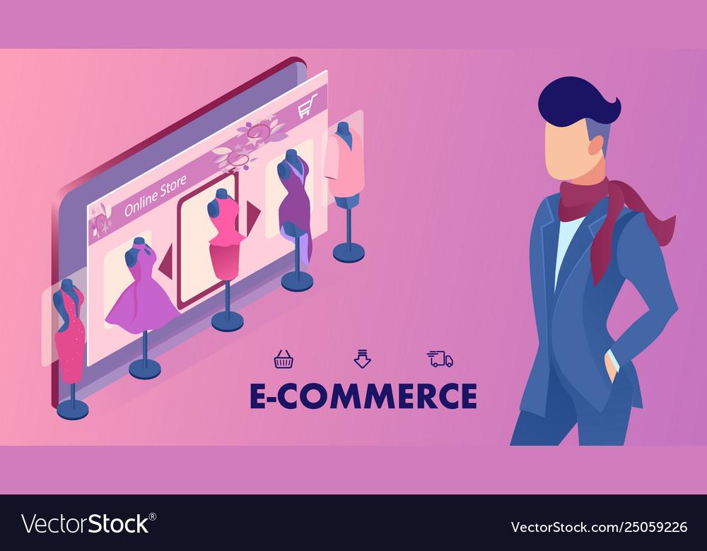 E Commerce Shop Website Banner Isometric Template Vector Image