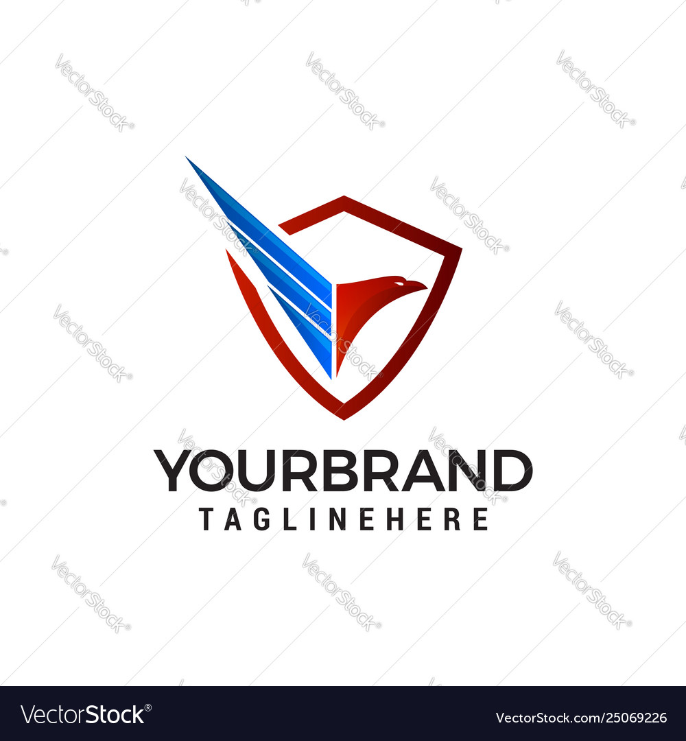 Eagle shield logo design concept template