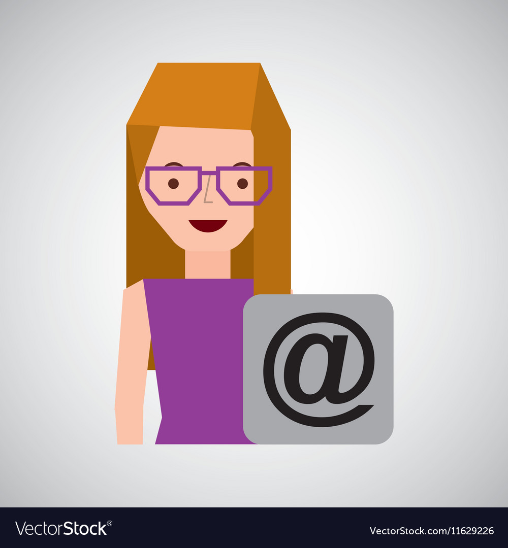 Girl with glasses mail sign design
