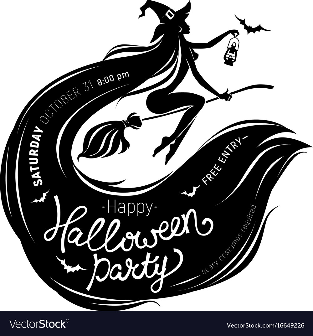 Halloween party poster with beautiful witch vector image